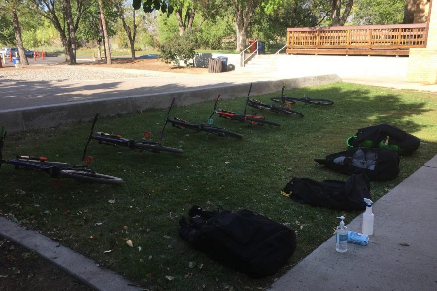 Bikes and protective gear ready for action on the new AA bike park.