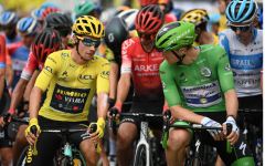 Race leader Primoz Roglic (Jumbo Visma) shares a word with green-jersey wearer, Sam  Bennett (Deceunick-Quick Step)