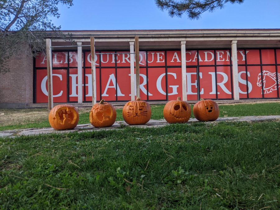 From left to right: pumpkins carved by seniors Julia Ross, Kate Thuma, Sofia Taylor, Gretchen Eberhardt, and Sowang Kundeling.