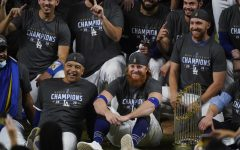 Maskless Justin Turner (with red hair), front and center in the LA celebration.