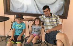 David Gray '98 (right), with his two kids, Felix, age 8 (left), and Willa, age 3 (middle).
