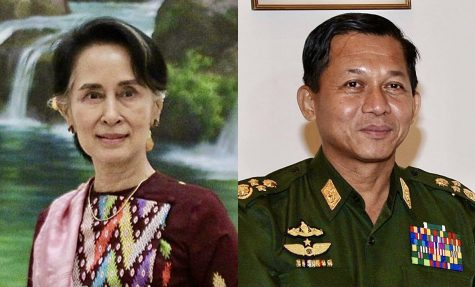Deposed leaders Aung San Suu Kyi (left), and Coup leader Min Aung Hlaing (right)