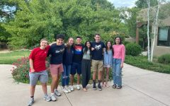 Academy's Mock Trial team is all smiles after hearing the results of the National Tournament.  From left to right: Rosa Bieber-Stanley '21, Noah Vigil '21, Megan Blackwell '21, Roman Martinez '21, Reeya Patel '21, Daniel Shapiro '21, Marly Fisher '23(timekeeper), Mason Porch (La Cueva courtroom artist)  (all are vaccinated)