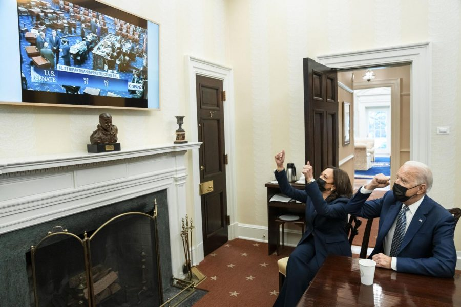 President Biden and Vice President Harris watch in excitement as the Senate passes the bipartisan infrastructure bill on August 10, 2021.