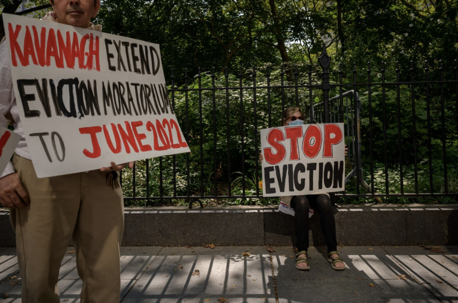 Protesters asking for an extension of the eviction moratorium, a request denied by SCOTUS
